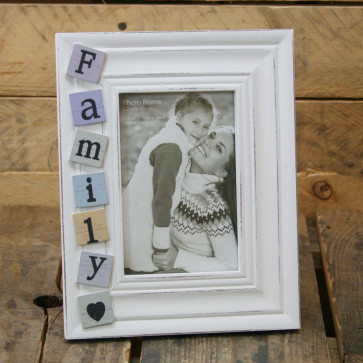 4 X 6 Shabby Chic White Washed Tiled Family Photo Frame