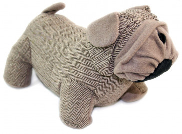 Take Me Home Herringbone Bulldog Doorstop - Brown Door Stop