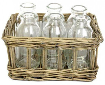 Natural Willow Baskets With 6 Vases