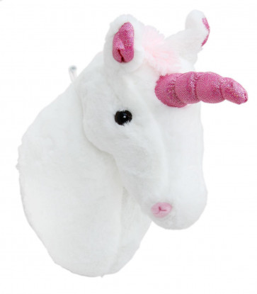Hanging Unicorn Head Plush White Wall Mount Children's Bedroom Decoration
