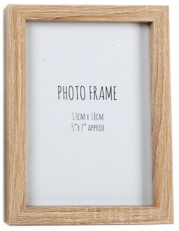 Simple Wooden Box Style Single Photo Frame Freestanding Portrait Or Landscape 5 x 7 ~ Natural