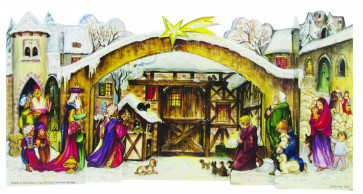 Traditional Nativity Crib Stand Up Card Advent Calendar - Reprint Of 1965