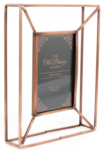 The Old Bronze Foundry Copper Style Wire Box Frame ~ Freestanding Photo Frame 4 X 6