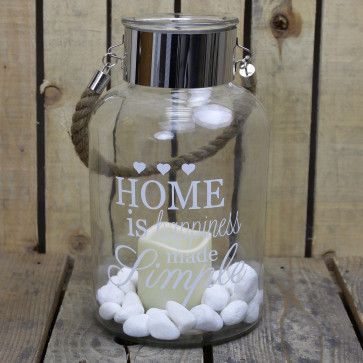 Clear Glass Hurricane Storm Lantern With Rope Handle And LED Flameless Candle And Decorative Stones ~ Happiness Made Simple