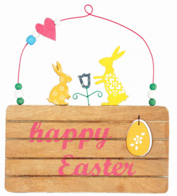 Happy Easter Wooden Plaque Decoration - 17Cm X 15Cm Hanging Decorative Display Sign