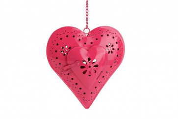 Hanging Metal Garden Party Pink Heart Tealight Lantern
