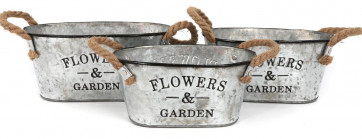 Set Of 3 Oval Galvanised Metal Bath Style Planters For Home Or Garden