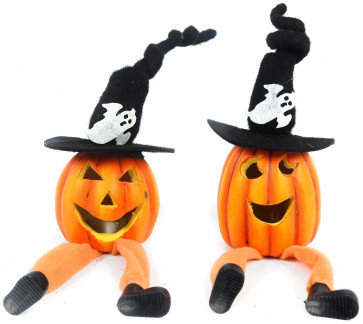 Light Up Colour Changing LED Jack O Lantern Pumpkin Halloween Decoration Shelf Sitter Ornament