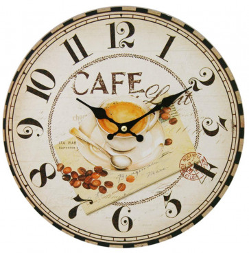 Charming French Style 28Cm Wall Clock - Café Au Lait Clock