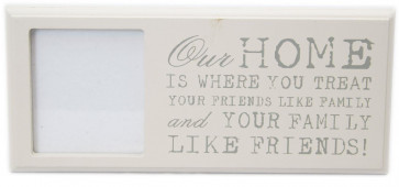 Freestanding Wall Hanging Shabby Chic Wooden Quote Picture Photo Frame 3 X 3 ~ Our Home