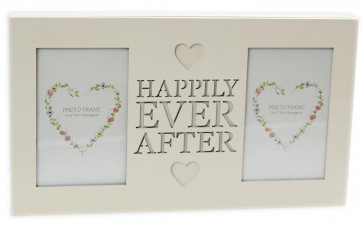 Double Wooden Cream Hanging Photo Frame With Cut Out Words 4 X 6 ~ Happily