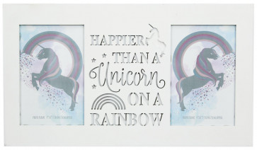 White Wood Unicorn Double Photo Frame With Cut Out Words 4 X 6 ~ Rainbow