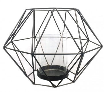 Geometric Black Metal Wire Frame Tealight Candle Holder