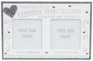 White Wooden Freestanding Silver Glitter Hearts Lots Wedding Anniversary Photo Frame