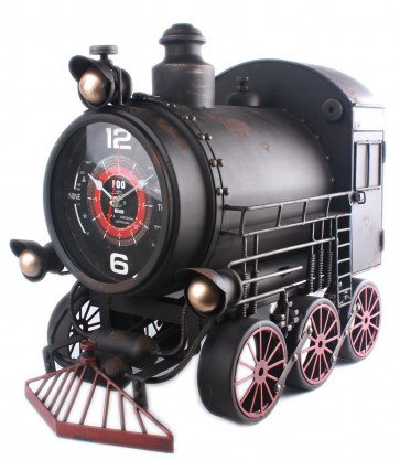 Large Vintage Rustic Metal Steam Train Locomotive Wall Clock 52cm x 47cm x 31cm