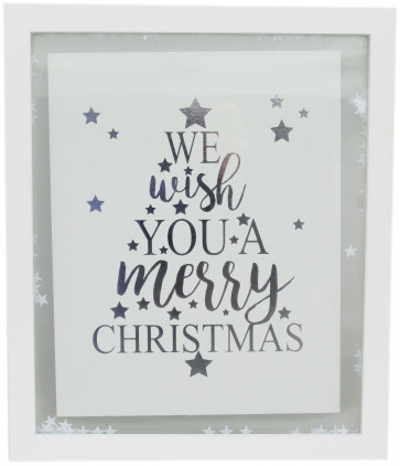 Hanging White Christmas Confetti Glass Plaque 27cm x 32cm - We Wish You A Merry Christmas
