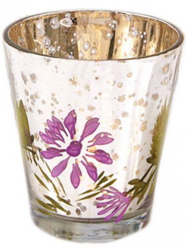 My Daisy Hand Painted Mercury Glass Votive Candle Tealight Holder ~ Purple