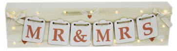 Wooden Freestanding Mr And Mrs Wedding Bunting Light Up LED Block Decoration