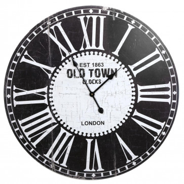 80cm Black Old Town Wooden Hanging Wall Clock