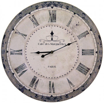 French Word 60cm Wall Clock - Cafe De Marguerites