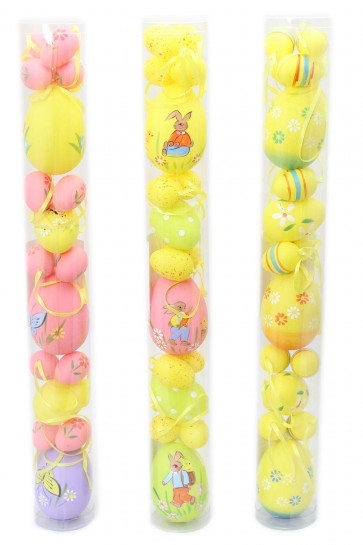 Pack Of 17 Mixed Size Hanging Easter Egg Decorations ~ Design Vary