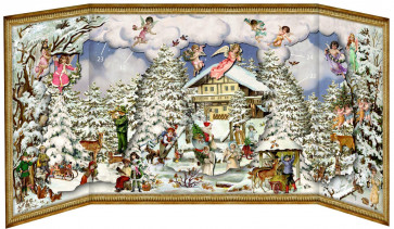 Deluxe Traditional Card Advent Calendar Large - Alpine Christmas With Slide In Figures
