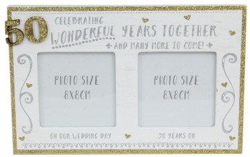 White Wooden Freestanding Golden Glitter 50TH Wedding Anniversary Photo Frame