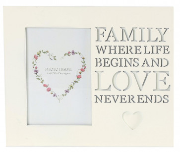 Wooden Cream Hanging Photo Frame With Cut Out Words 4 X 6 ~ Family
