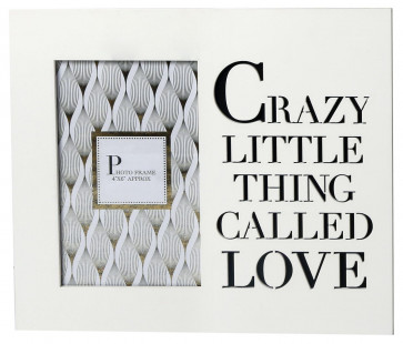 "White Wooden Cut Out Words Phrase Photo Frame 4"" x 6"" ~ Crazy Little Thing Called Love"