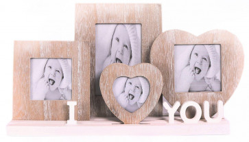 Rustic Wooden I Love You Heart Photo Picture Frames On Tray Base