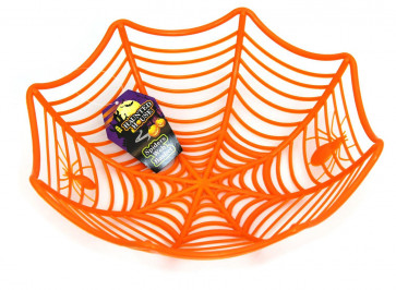 Plastic Spider Web Cobweb Bowl Halloween Table Party Decoration ~ Orange