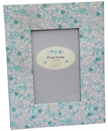 Ditsy Padded Floral Fabric Freestanding Photo Frame ~ Blue