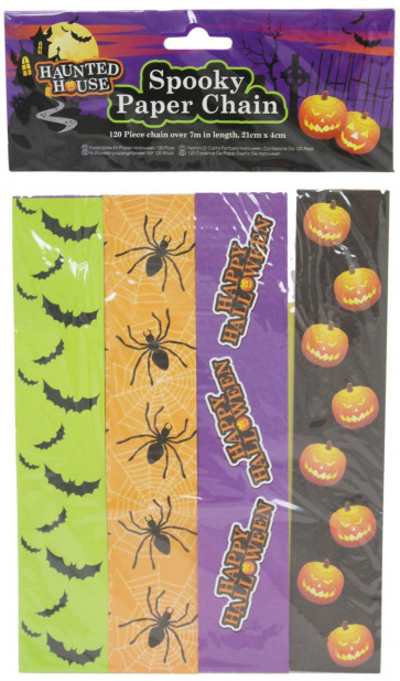 Haunted House Spooky Paper Chain Decorations - 120 Piece Halloween Paper Chains ~ Great Halloween Party Decoration
