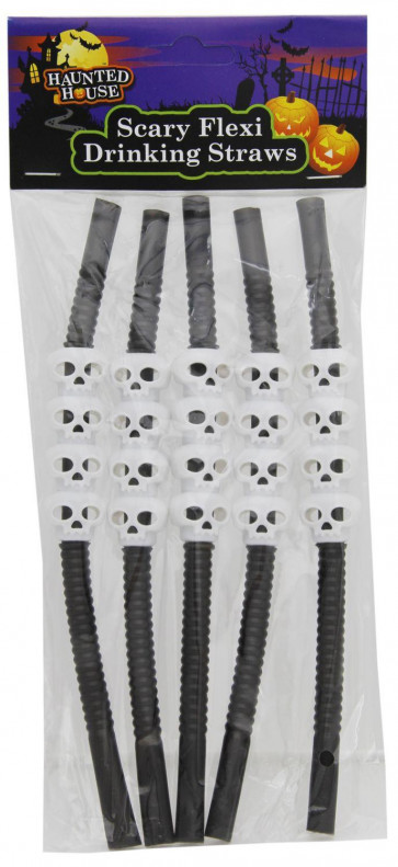 Haunted House Scary Flexi Drinks Straws - Halloween Party 5 Black And White Skeleton Skulls Flexible Drinking Straws