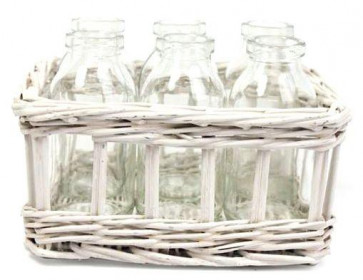 White Willow Basket With 6 Vases