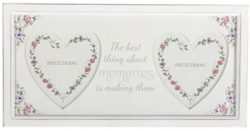 Gorgeous Wood Double Floral Heart Photo Frame ~ Memories Picture Frame