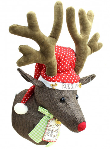 Festive Christmas Rudolph Red Nose Reindeer Stag Head Wall Decoration