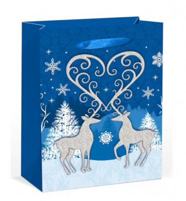 XL Extra Large Glitter Reindeer Stag Christmas Present Gift Bag 45cm x 33cm