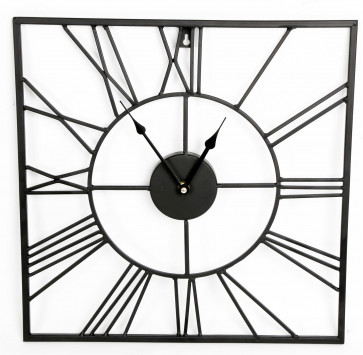 40Cm Stylish Black Metal Frame Square Cut Out Skeleton Roman Numeral Wall Clock