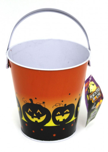 Haunted House Tin Trick Or Treat Halloween Candy Bucket - Childrens Trick Or Treating Metal Bucket With Handle - Orange Pumpkin Silhouettes