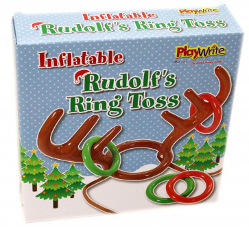 Inflatable Antler Hat Rudolf Reindeer Ring Toss Christmas Party Game