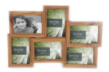 6 Wood Effect Multiple Hanging Photo Frame
