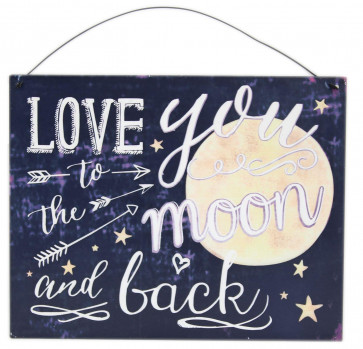 Love You To The Moon And Back Hanging Metal Tin Sign Wall Plaque Valentine's Gift