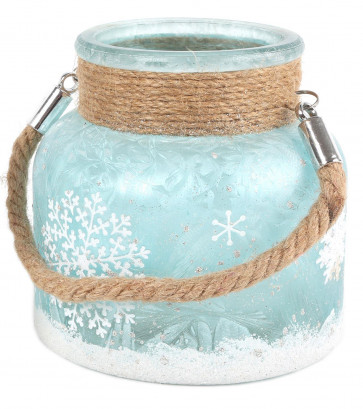 Frosted Glass Glitter Snowflake Tealight Candle Lantern With Rope Handle 12cm - Light Blue