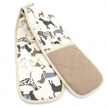 Dog Puppy Heat Resistant Double Oven Glove - Kitchen BBQ Cooking Baking Protective Mitt