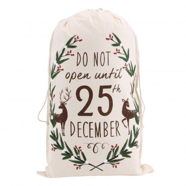 Canvas Santa Sack For Christmas Presents ~ Do Not Open Until 25Th Of December