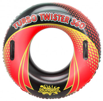 Inflatable Pool Turbo Twister Tube 36 Inch Rubber Swimming Ring With Hand Grips ~ Red