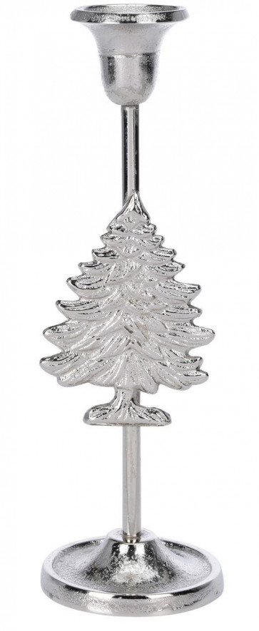 Silver Metal Christmas Design Table Pillar Candlestick Candle Holder Decoration - Tree
