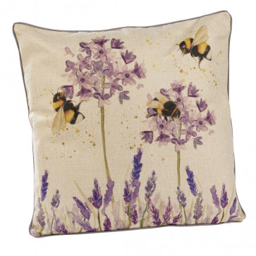 Honey Bee And Lavender Scatter Cushion | Floral Fabric Filled Sofa Cushion | Bumble Bee Bed Throw Pillow With Cover - 45cm