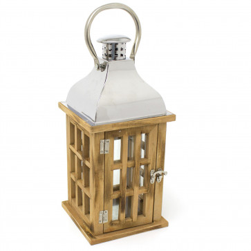 Natural Wooden Candle Lantern | 39cm Hurricane Lantern Candle Holders for Home Garden Patio - Tealight Candle Holder With Handle